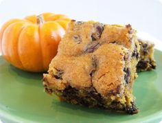 pumpkin chocolate chip bars- I'm repinning this because I made them last night and they are AMAZING!!!! If you like pumpkin treats and chocolate chip cookies, you'll be in heaven. There is a hint of saltiness that adds so much!