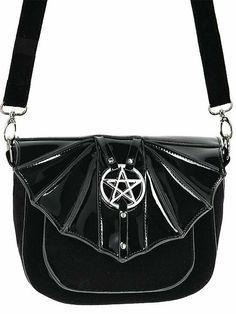 Restyle Gothic Nugoth Mond Sterne Tasche Plüsch Hobo Samt Handtasche Sack Moon