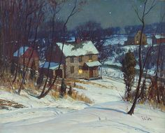 GEORGE WILLIAM SOTTER  (1879-1953), THE NEIGHBOR'S HOUSE, oil on board, 15 1/2 x 19 1/2 in. (39.4 x 49.5cm)