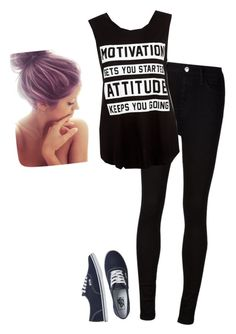"""""""So Sorry!"""" by hanakdudley ❤ liked on Polyvore featuring AG Adriano Goldschmied and Vans"""