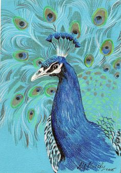 PEACOCK original painting by MSbluesky on Etsy