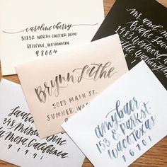 Custom Calligraphy Handlettered and Watercolor envelope addressing from Eleven and West