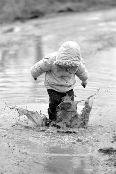 """HIS MOM TOLD HIM TO """"STAY OUT OF THE PUDDLES, HEAR ME HUBERT LEE??""""……..""""HUBIE"""" HEARD HER, BUT GOLLY MOSES WHAT'S A FELLA TO DO??….A PUDDLE LIKE THAT JUST HAS TO BE JUMPED IN…….ASK ANY KID…………..ccp More"""