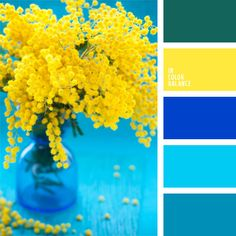 Color Palette Combination of blue and deep blue shades of different intensity makes the yellow color look even brighter. This mix will be good for summer breakfast outsi. Colour Pallette, Colour Schemes, Paint Schemes, Color Azul, Blue Yellow Kitchens, Kitchen Yellow, Kitchen Colors, Kitchen Ideas, Kitchen Decor