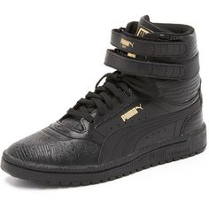 PUMA Sky II High Top Sneakers ($82) ❤ liked on Polyvore featuring shoes, sneakers, leather hi top sneakers, lace up sneakers, puma high tops, velcro sneakers and puma shoes