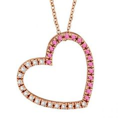 Diamond & Pink Sapphire Heart Pendant Necklace 14k Rose Gold