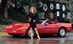 1987 Playmate Donna Edmonson and her Chevrolet Corvette Convertible
