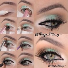 White,Mint and Brown Pictorial 1.Apply Nyx Jumbo pencil Milk....