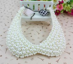 Fashion Women White/Black Faux Pearl Collar Necklace Fake Collar | eBay