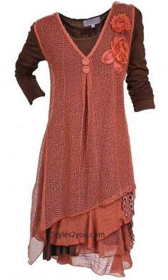 AP Two Piece Delilah Dress in Rust