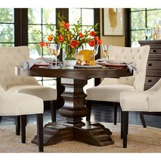 I'm Thinking A Large Round Dining Table Would Be Beautiful And Entrancing Dining Room Tables Pottery Barn Design Decoration