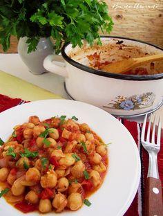 Mâncare de năut cu sos de roşii Vegetable Recipes, Vegetarian Recipes, Healthy Recipes, Healthy Cooking, Cooking Recipes, Good Food, Yummy Food, Food Garnishes, Vegan Dishes