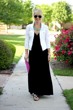 33 Spring Outfit Ideas White jean jacket long black dress and statement necklace White Jacket Outfit, Black Dress Outfits, Spring Outfits, Casual Long Black Dress, Maxi Outfits, White Casual, Outfit Summer, Dress Long, Casual Outfits