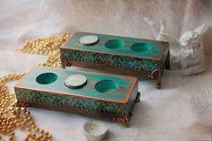 Wood Candlestick Set Chocolate and Mint - Wood Candle Holder - Decoupage Candlestick - Pine Wood Decor - Candelabra - Tealight Holder
