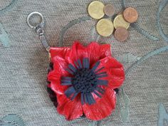 Leather coin purse with leather flowerhandmade by EvElly on Etsy