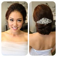 wedding hair with brooch by Kelly Zhang