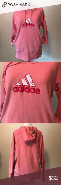 """Adidas Hooded Sweatshirt Condition - Good shape, normal wear, no flaws, 8/10  Color - pink   Measurements -  Underarm to underarm - 19"""" Shoulder to hem - 24"""" Underarm to end is Sleeve - 21""""  Material - see photo tag, S51817M adidas Tops Sweatshirts & Hoodies"""