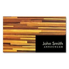 Modern Wood Stripes Announcer Business Card