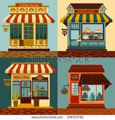 line drawings of shop fronts - Google Search