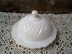 White Milk Glass Covered Butter Dish  Mid Century Nostalgic housewarming gift christmas gift gifts for her gifts for sisters glass art glass by CottonCreekCottage on Etsy