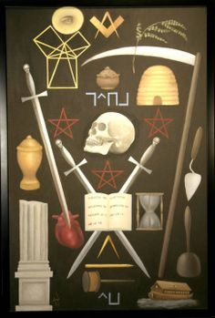 Freemasonry: #Masonic Symbolic Plate art chart trestle tracing board.