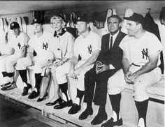 Doris Day and Cary Grant hang out in the dugout with some Yankee gentlemen, including Roger Maris, Mickey Mantle and Yogi Berra, during the making of That Touch of Mink.