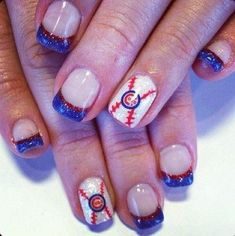 13. #Chicago Cubs - 36 Sports Nail Art #Ideas That Will Make You Ready… #Pattern
