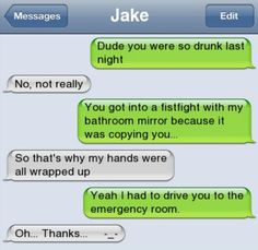 Text Message: Drunk Mirror Fist Fightツ #Humor #Funny #Lol