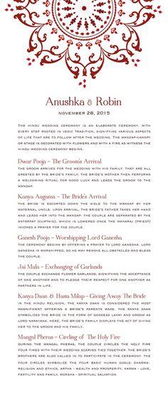 Downloadable Hindu Wedding Program by HeartSeets on Etsy