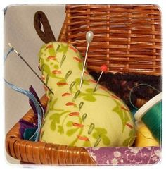 Yellow Pear Pincushion Green Coral Embroidered Handmade Pin Cushion | kathisewnsew - Needlecraft on ArtFire #AFPounce