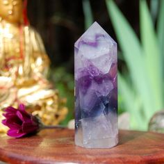 Rainbow Fluorite Crystal Point, White and Purple Quartz Healing Crystal, Reiki, Meditation Crystal, Chakra, Rocks and Minerals, 82 Grams