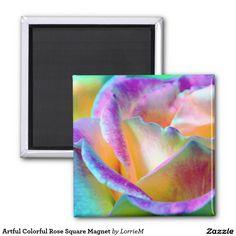 Artful Colorful Rose Square Magnet