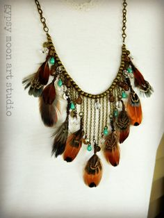 Autumn Bride Bohemian Necklace  Fall Rustic