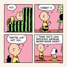 Snoopy gets new shoes.