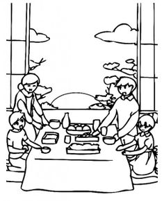korea coloring page | New Year Celebration In Korean Family Coloring Pages