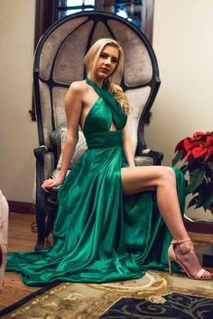 8e88d52c20 Sherri Hill Emerald Green Flowy Dress with Criss Cross neckline and slit  Ypsilon Dresses Prom Pageant