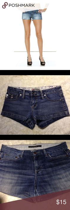 """YMI From City of Angels Jean Shorts, Size 7 YMI From City of Angels Jean Shorts, Size 7, very short shorts, 82% cotton, 15% polyester 2% spandex, Approx. flat lay measurements:  2.5"""" inseam, 7.5"""" front rise, 15.5"""" waist. Great pre owned condition $15 YMI Shorts Jean Shorts"""