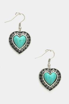 HEART TURQUOISE EARRINGS - $10.00