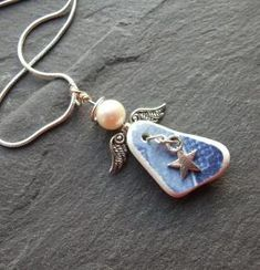 Sea Pottery Angel Necklace Scottish Seaglass by byNaturesDesign