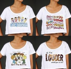 One Direction Themed Crop Top PREORDER by StylesShop on Etsy, $26.00 ( I might get these for my birthday) <3