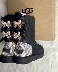 Ugg Boots With Swarovski Crystals Custom Girl Baby- Toddler Bailey Bow II Ugg Boots by VIOLETSPINKBOUTIQUE on Etsy #AustralianSheepskinBoots