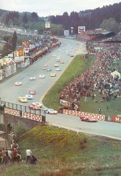 Spa 1000KRrace, 1969 🇧🇪 The first cars have dipped through Eau Rouge and begun the Raidillon climb.
