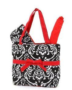 Belvah Designer Diaper Bag, High-End Quilted Damask Print Black and Red, 3 c6dd1d6234