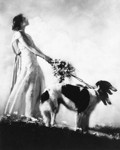 Margaret Horan and Borzoi Dogs. Photo by Alfred Cheney Johnston (1885-1971), 1932. ☀