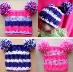 Simply Striped Pom Pom Beanie   AllFreeCrochet.com