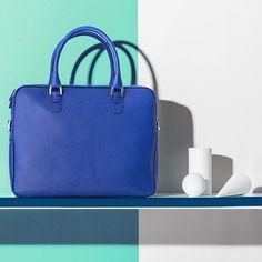 Furla SS16 Men's Collection: contemporary design for the modern man.  #furlafeeling #themodernman #fashion #bag #blue