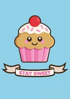 'Stay Sweet' Strawberry Cupcake A3 Art Print
