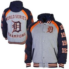 Detroit Tigers Ash/Navy Blue Rookie of the Year World Series Champions Commemorative Jacket