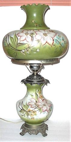 """VICTORIAN TABLE LAMP 28""""T HAND PAINTED GLASS SHADE GLOBE VINTAGE ANTIQUE HEDCO"""