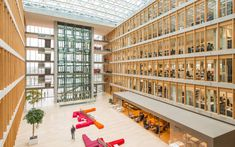 Head Office of PricewaterhouseCoopers, Luxemburg Interior Design And Space Planning, Wood Structure, Drupal, Atrium, Wine Rack, Geometry, The Unit, Future